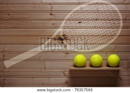 Three Tennis Balls And Imprint Racket