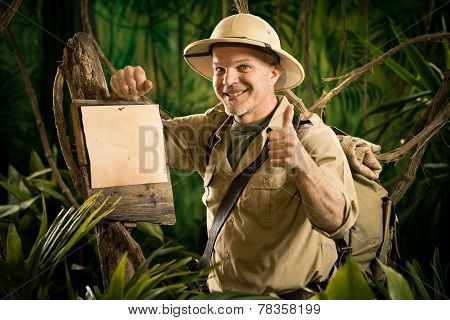 Cheerful Explorer Thumbs Up With Sign