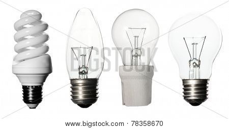Light bulbs collage, isolated on white