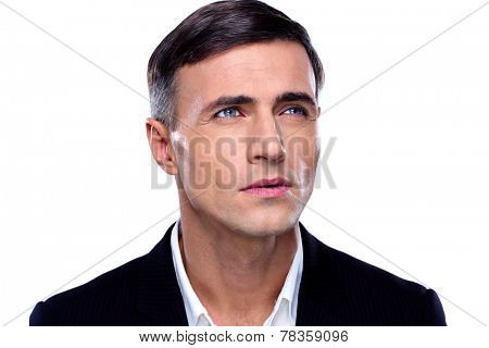 Closeup portrait of a thoughtful businessman over white background
