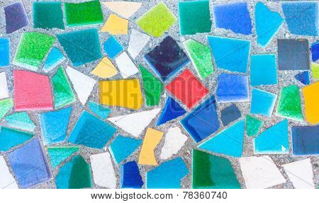 Colorful Trencadis Broken Tiles Mosaic.