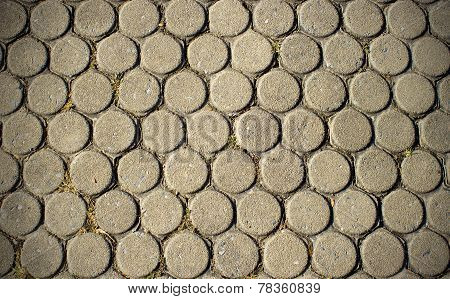 Cement Block Road Pattern In Public Park, Hive Shape Abstract