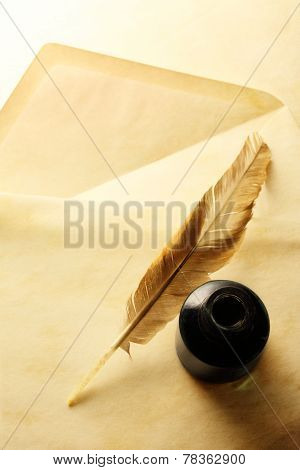 Envelope With Inkwell And Feather