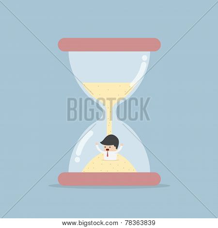 Businessman Trapped In Hourglass