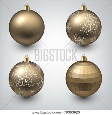 Vector illustration of shiny golden christmas balls. Winter decoration.