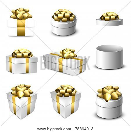 Set of vector 3d realistic gift boxes with bows.