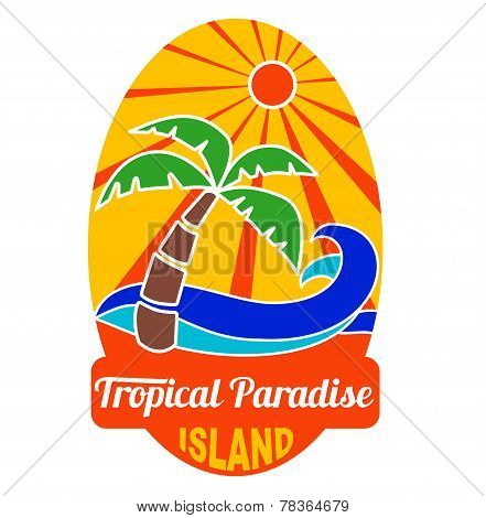Tropical paradise logo for company and t-shirts