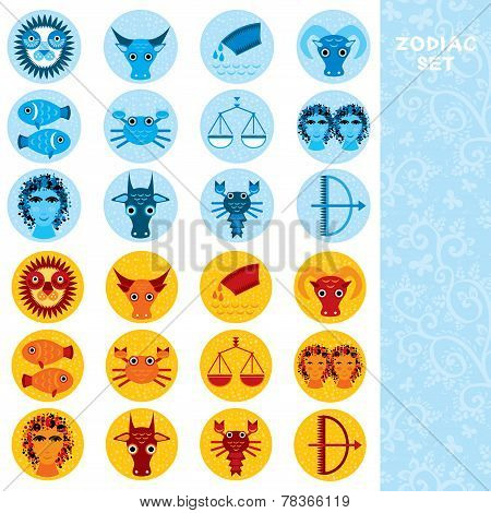 Two sets of Funny blue and orange zodiac sign icon astrological, vector
