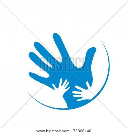 children and father hands together