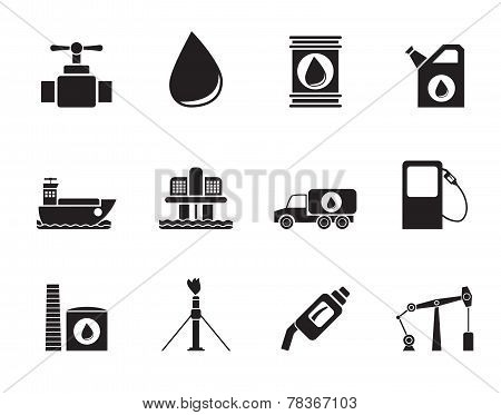 Silhouette oil and petrol industry objects icons