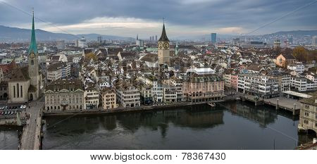 Panorama Of The City Of Zurich (switzerland).