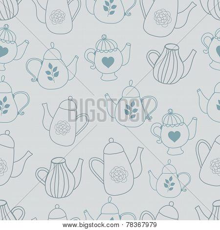 Teapot seamles pattern hand drawn style silhouette