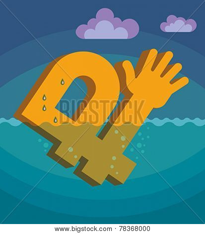 Drowning of Russian rouble. Conceptual vector illustration.