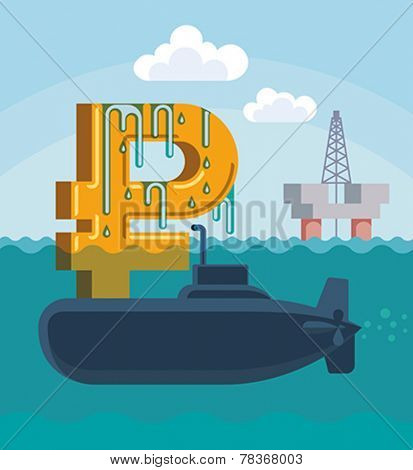 Surfacing of Russian rouble on the hull of military submarine. Conceptual vector illustration.