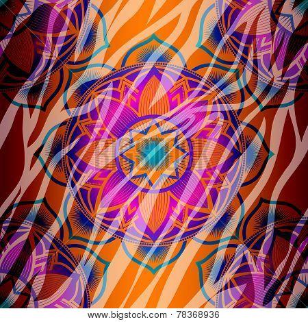 Mandala symbol seamless pattern