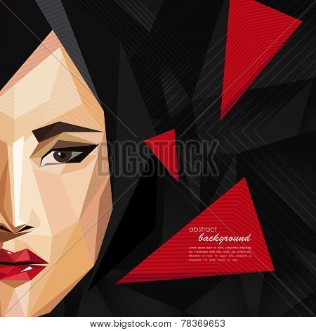 illustration with an asian woman face in low-polygonal style. modern poster, fashion, beauty or ente