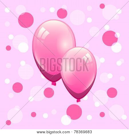 Couple Pink Balloon On Bokeh Background