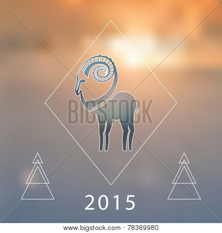Stylized hipster silhouette of goat inside the rhomb on blured background. Ibex symbol.