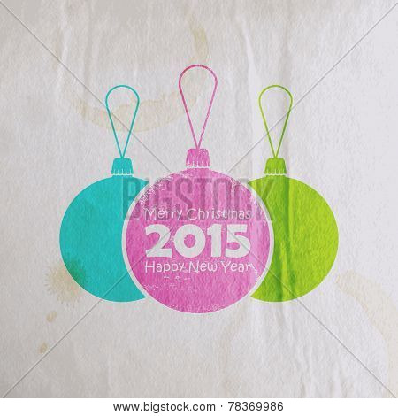 Abstract multicolored watercolor balls in flat style.  holiday vector illustration with old paper wr