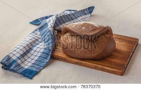Fresh Rye Bread Tabatiere On The French Recipe On Cutting Board