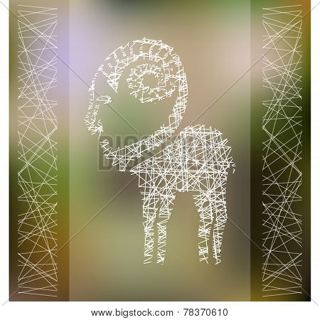 Stylized hipster hatched silhouette of goat on blured background. Ibex symbol. Vector illustration.