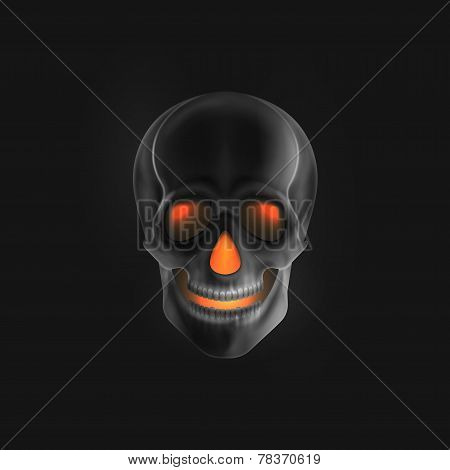 Vector halloween illustration of an evil skull