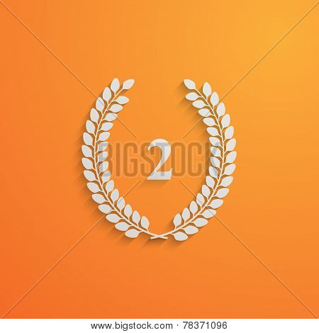 vector illustration of laurel wreath.3d paper design with long shadow. 2 place