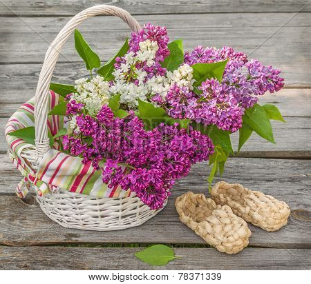 White Basket With Lilacs And Bast Shoes