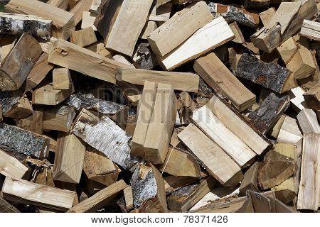 Autumn Heap Of Firewood