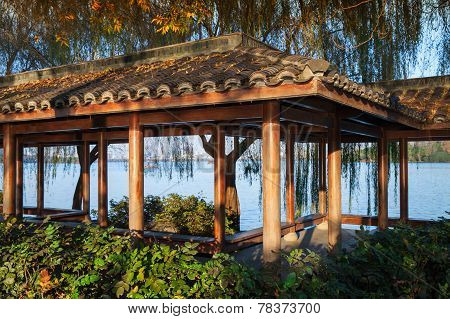 Wooden Traditional Chinese Gazebo On The Coast
