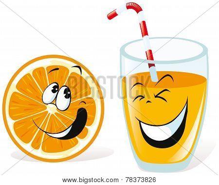 Cartoon Orange And Juice