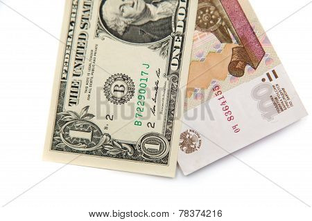 American 1 dollar bill and 100 russian rubles