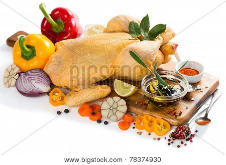 Uncooked Chicken With Vegetables