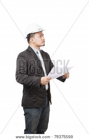 Side View Of Young Asian Wearing Safety Helmet Working Engineering Man Holding Project Paper Work Is