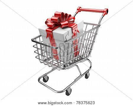 Shopping Cart With Gifts Boxes