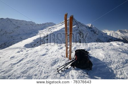 Ski Tour Equipment And Avalanche Safety Tools
