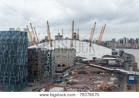 The O2 Arena In London On A Rainy Day