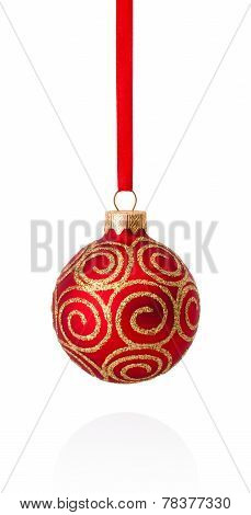Red Decorations Christmas Ball Hanging On Ribbon Isolated On White Background