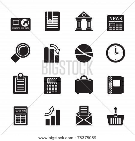 Silhouette Business and Office Realistic Internet Icons