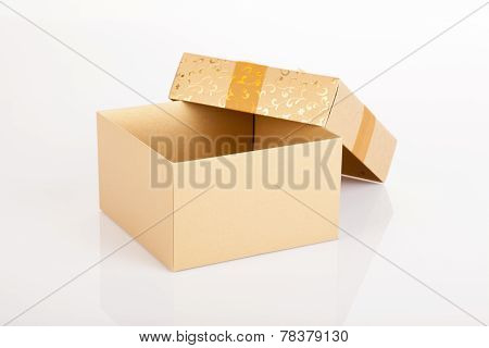 Golden Christmas Gift Box With Lid Off