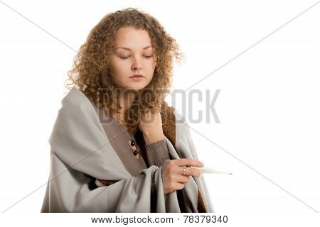Girl In Shawl Checks Temperature Close-up