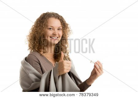 Happy Girl Holds Thermometer