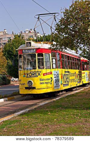 Old Nostalgic Public Transport Tram In Antalya Turkey