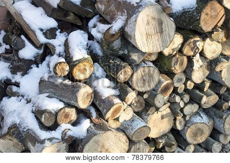 Texture-firewood Cut Into Ridges Covered With White Snow
