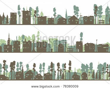 Set Of Horizontal Childish Banners Of Built, Home And Trees.
