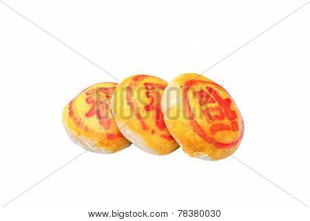 Close Up Of A Mooncake Isolated Over White Background.