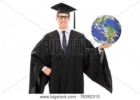 Young graduate holding the planet earth isolated on white background, earth image in public Domain and furnished by NASA