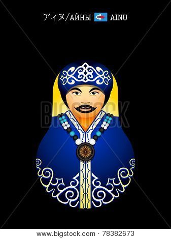 Matryoshkas of the World: Ainu native girl with a lips tattoo