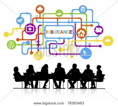 Group of Business People Meeting with Insurance Concept