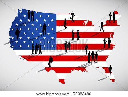 Silhouettes of business people standing on an American flag themed cartography of USA.